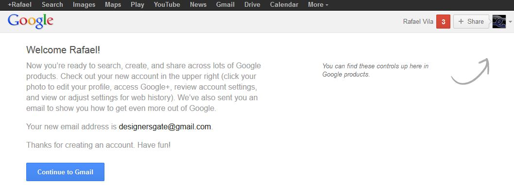 Gmail welcome page