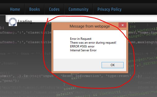 An Internal Server Error is thrown by the browser
