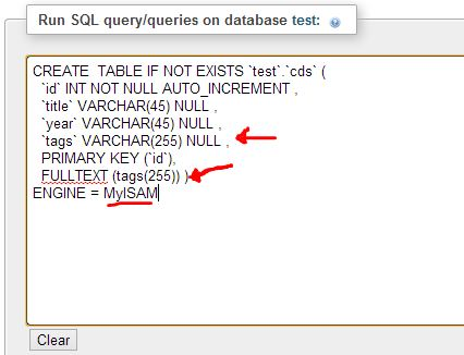 Creating Table MySQL